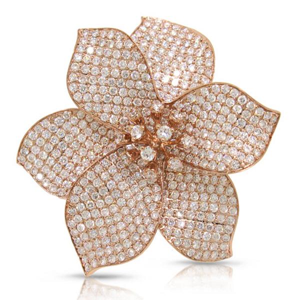 5.70ct 14k Rose Gold Diamond Pave Flower Ring