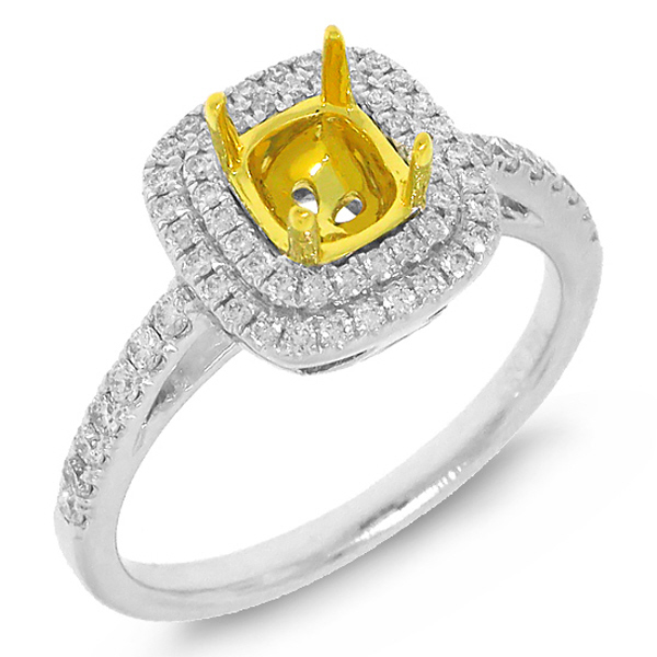 0.35ct 14k Two-tone Gold Diamond Semi-mount Ring
