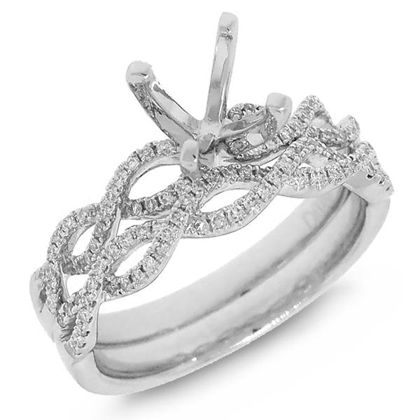 0.28ct 14k White Gold Diamond Semi-mount Ring 2-pc