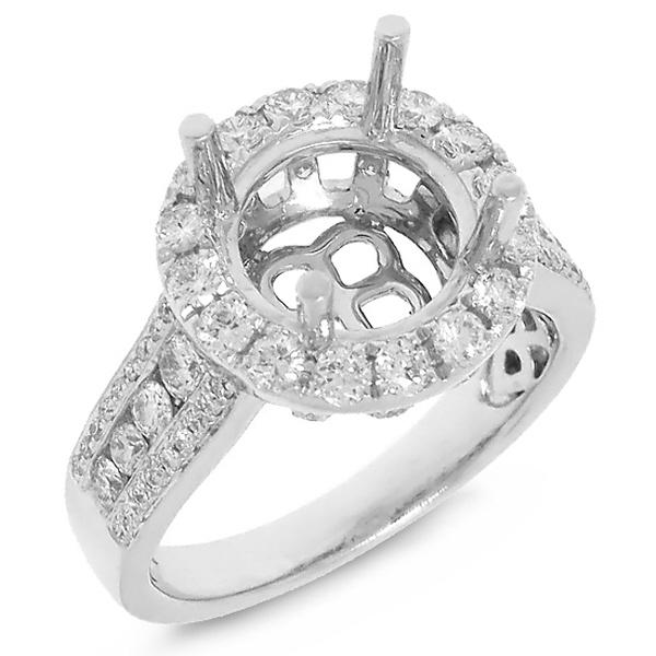 1.03ct 18k White Gold Diamond Semi-mount Ring