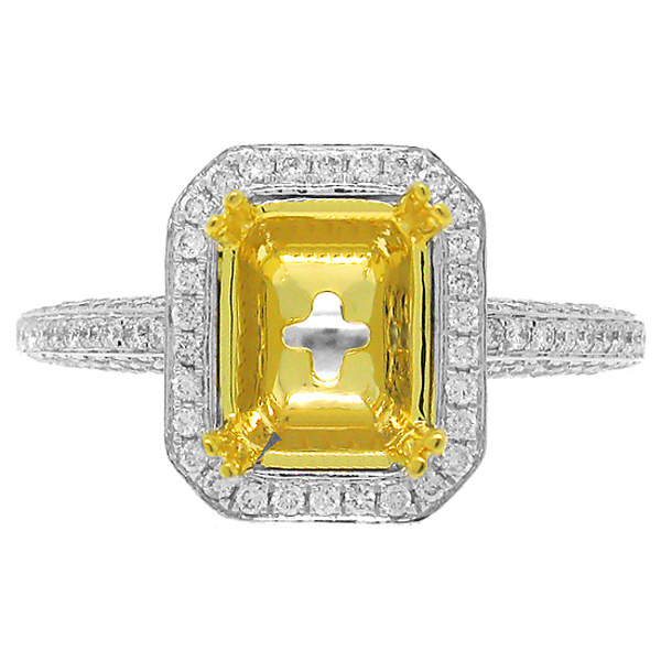 0.62ct 18k Two-tone Gold Diamond Semi-mount Ring