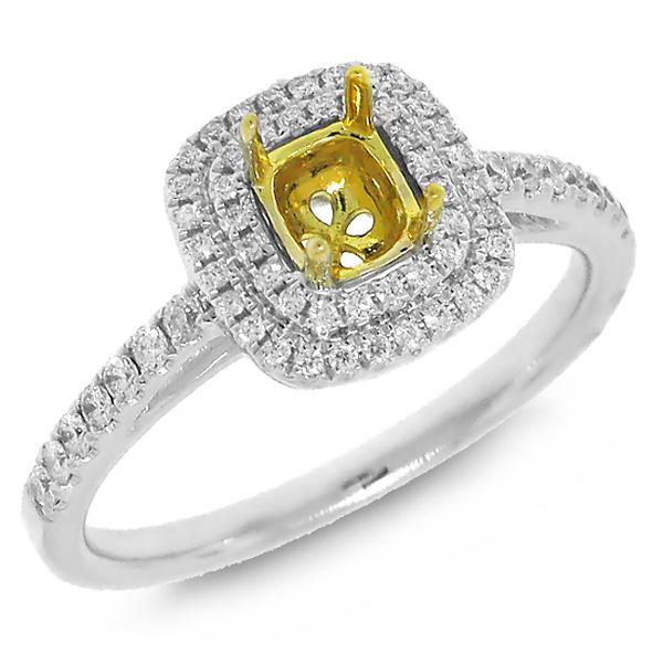 0.28ct 18k Two-tone Gold Diamond Semi-mount Ring