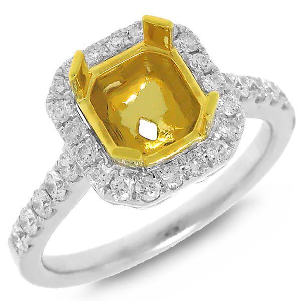 0.51ct 18k Two-tone Gold Diamond Semi-mount Ring