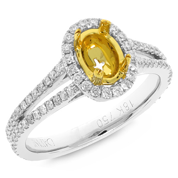 0.56ct 18k Two-tone Gold Diamond Semi-mount Ring