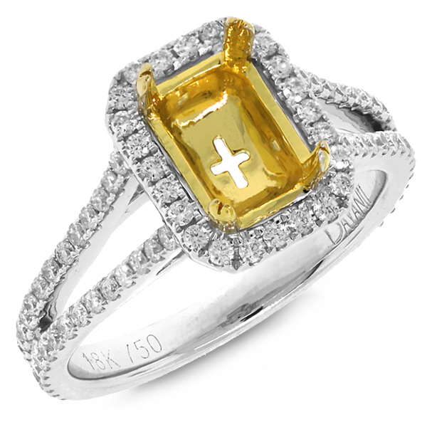 0.64ct 18k Two-tone Gold Diamond Semi-mount Ring