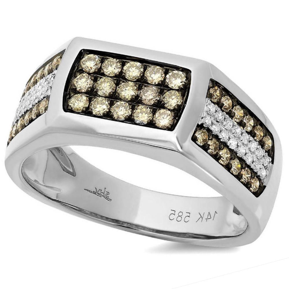 0.87ct 14k White Gold White & Champagne Diamond Men's Ring