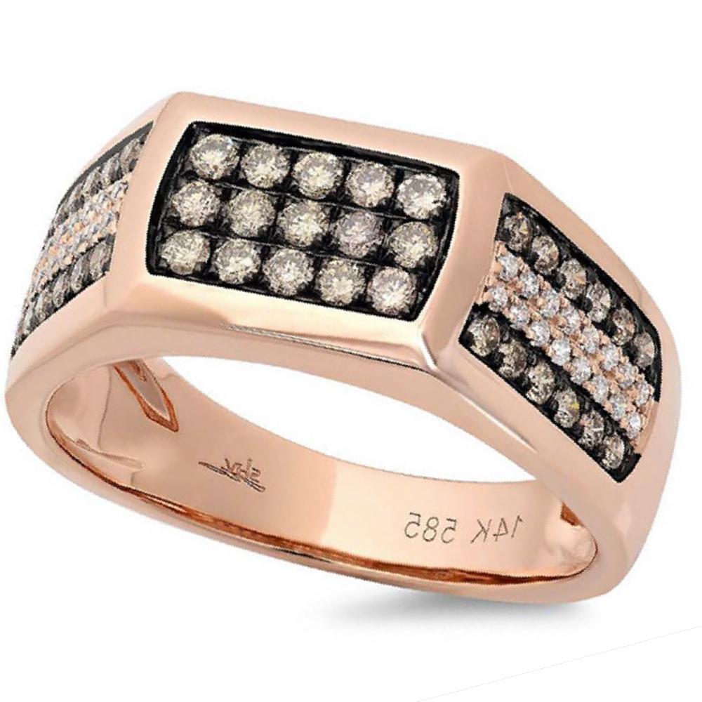 0.87ct 14k Rose Gold White & Champagne Diamond Men's Ring