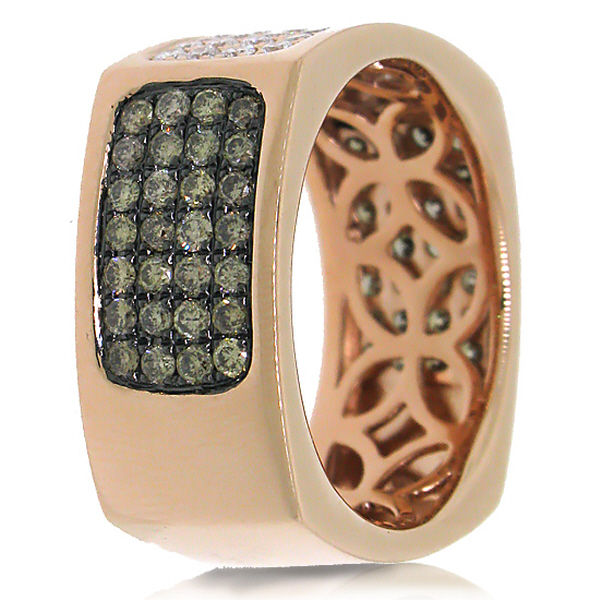 1.78ct 14k Rose Gold White & Champagne Diamond Men's Ring