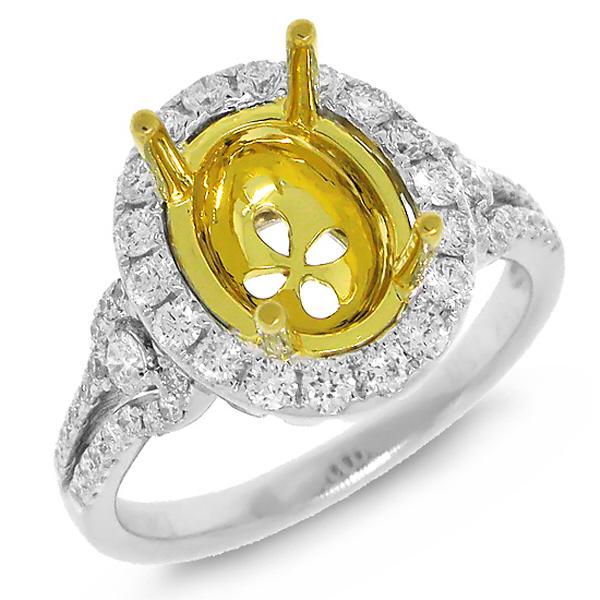 0.69ct 18k Two-tone Gold Diamond Semi-mount Ring