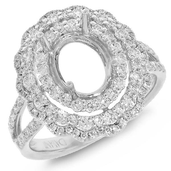 0.92ct 18k White Gold Diamond Semi-mount Ring