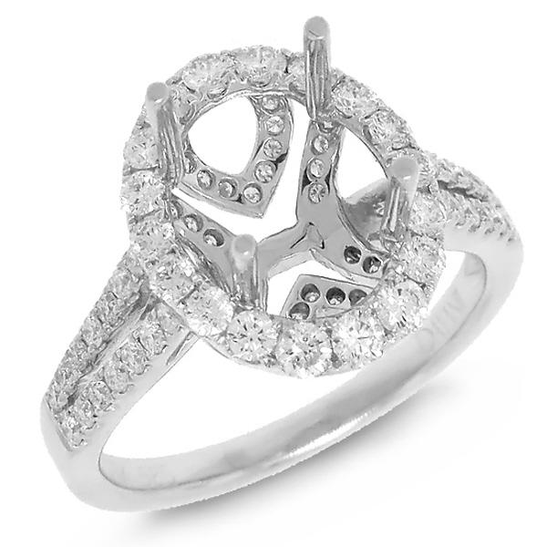 0.89ct 14k White Gold Diamond Semi-mount Ring