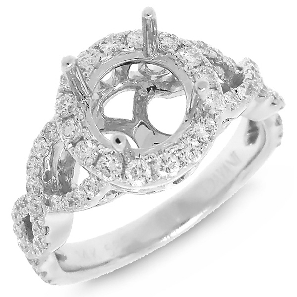 0.71ct 14k White Gold Diamond Semi-mount Ring
