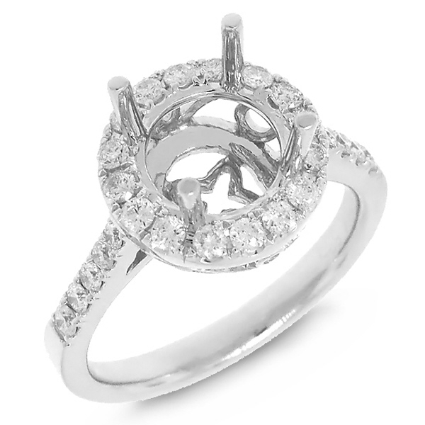 0.53ct 14k White Gold Diamond Semi-mount Ring for 2.00ct Center
