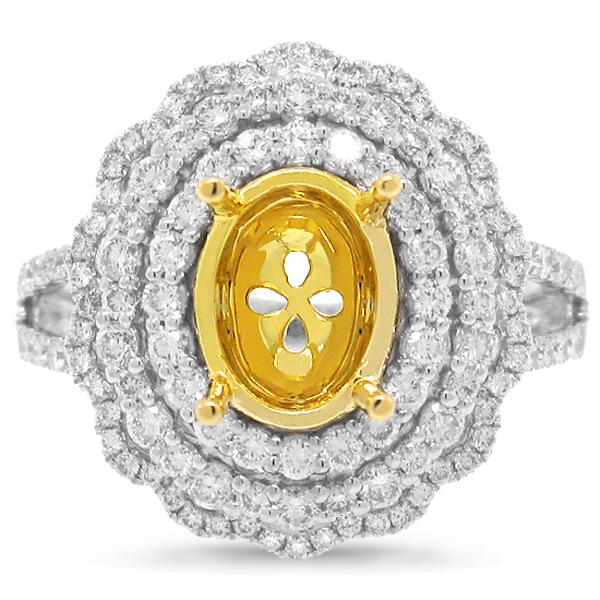 0.92ct 18k Two-tone Gold Diamond Semi-mount Ring
