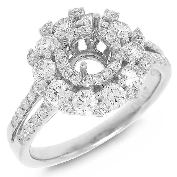 1.20ct 14k White Gold Diamond Semi-mount Ring
