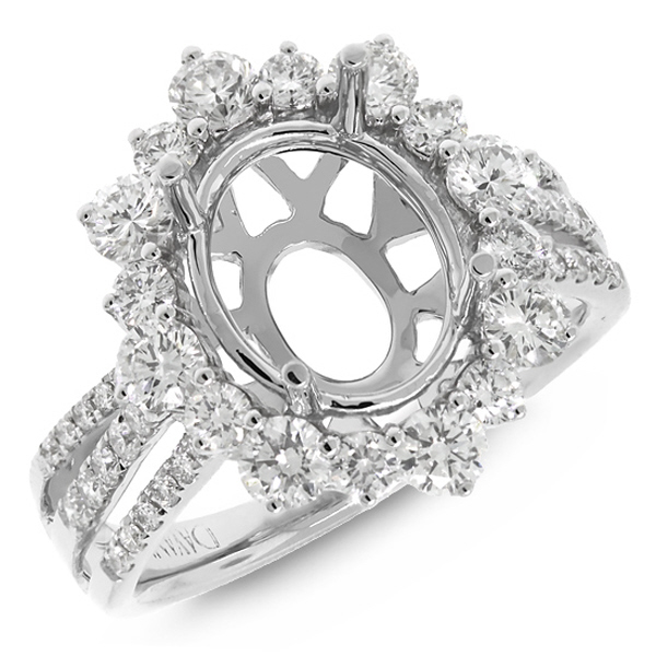 1.36ct 18k White Gold Diamond Semi-mount Ring