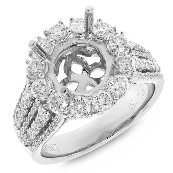1.53ct 18k White Gold Diamond Semi-mount Ring