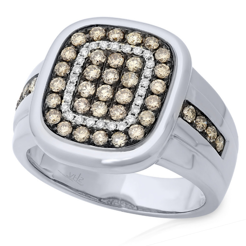 1.17ct 14k White Gold White & Champagne Diamond Men's Ring