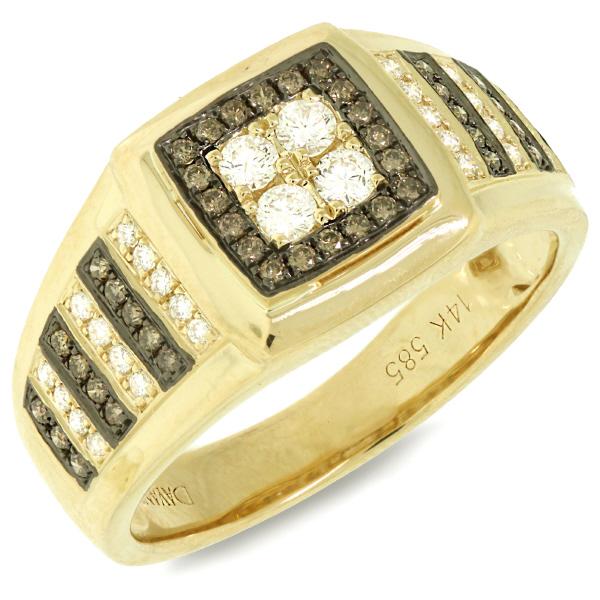 0.63ct 14k Yellow Gold White & Champagne Diamond Men's Ring