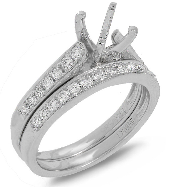 0.76ct 14k White Gold Diamond Semi-mount Ring 2-pc