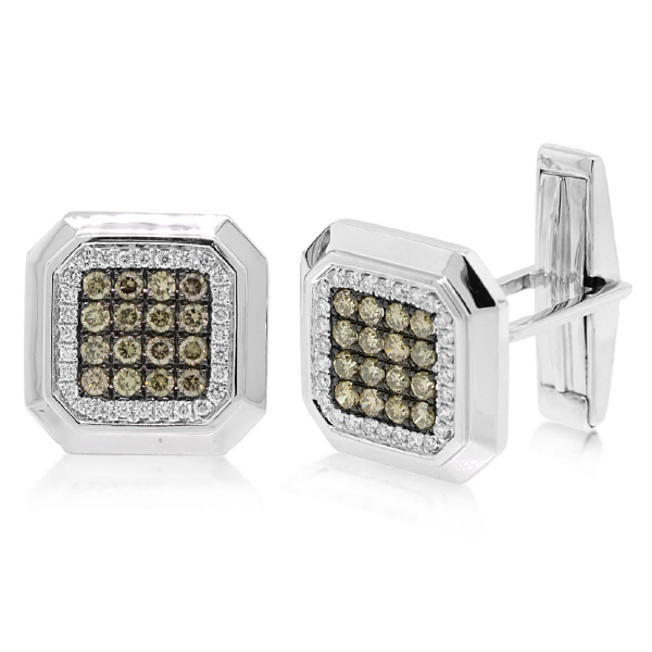 1.08ct 14k White Gold White & Champagne Diamond Cuff Links