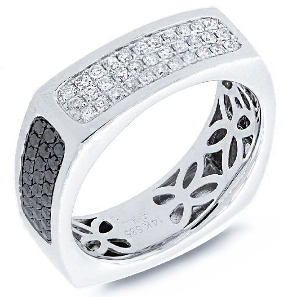 0.94ct 14k White Gold Black & White Diamond Men's Ring
