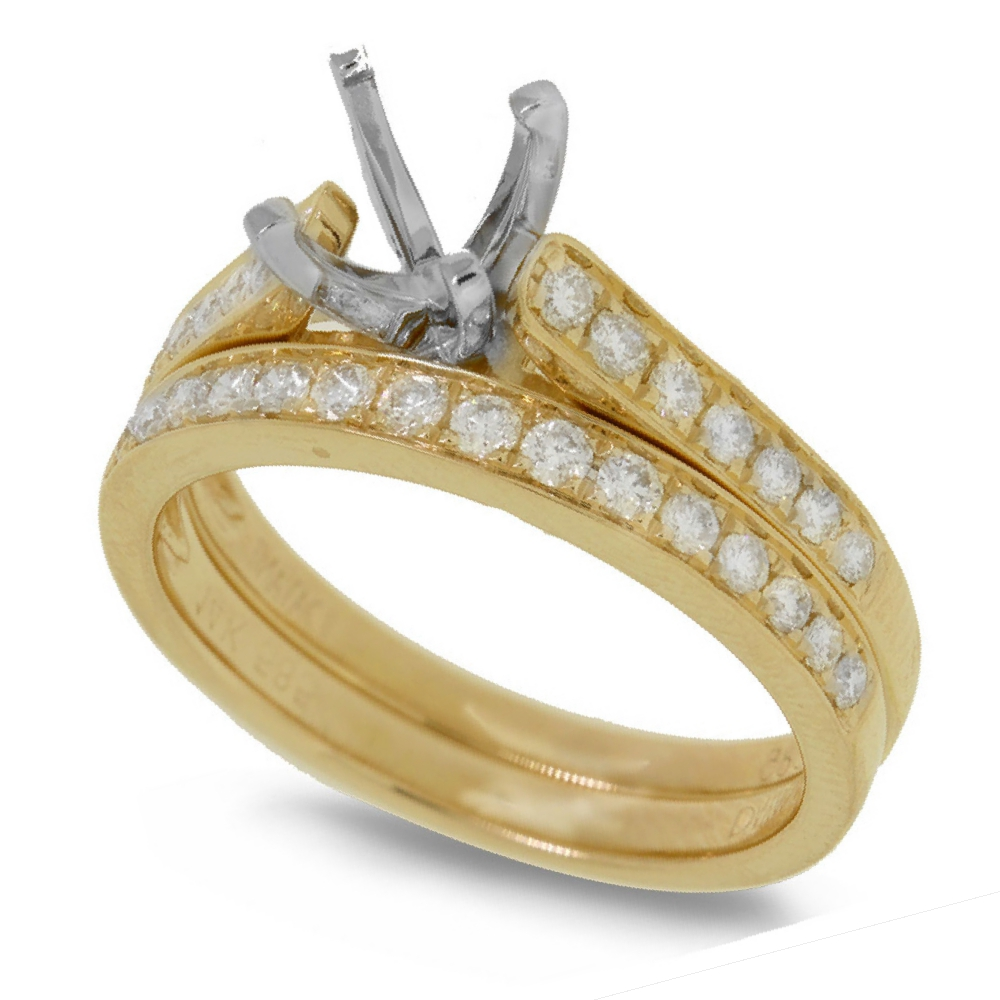 0.48ct 14k Yellow Gold Diamond Semi-mount Ring 2-pc for 0.75ct Center