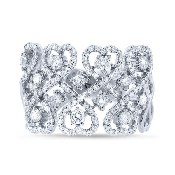 0.98ct 14k White Gold Diamond Heart Ring