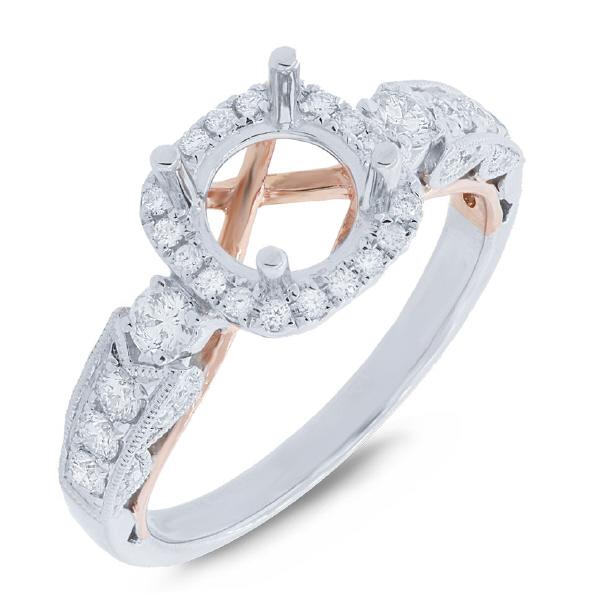 0.55ct 14k Two-tone Rose Gold Diamond Semi-mount Ring