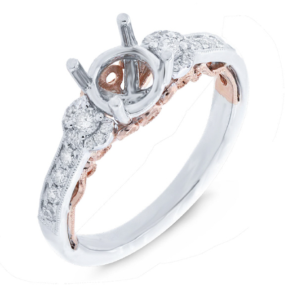 0.29ct 14k Two-tone Rose Gold Diamond Semi-mount Ring