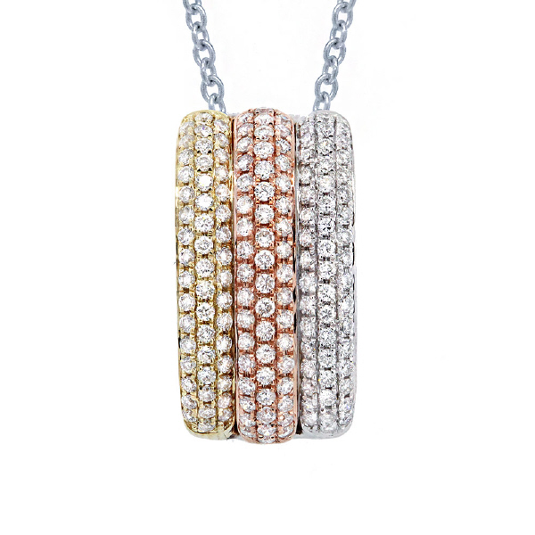 0.93ct 14k Three-tone Gold Diamond Pendant Necklace