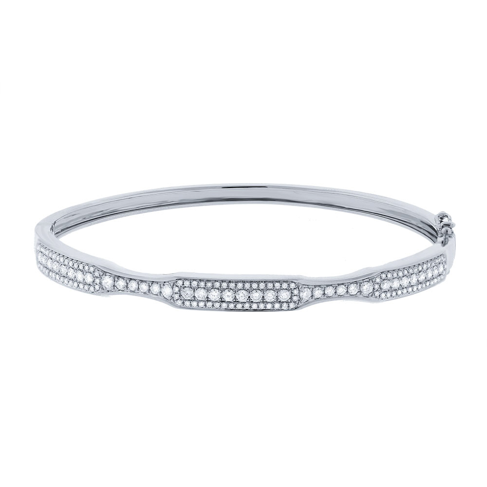 White Gold Bangle Bracelet with Diamonds