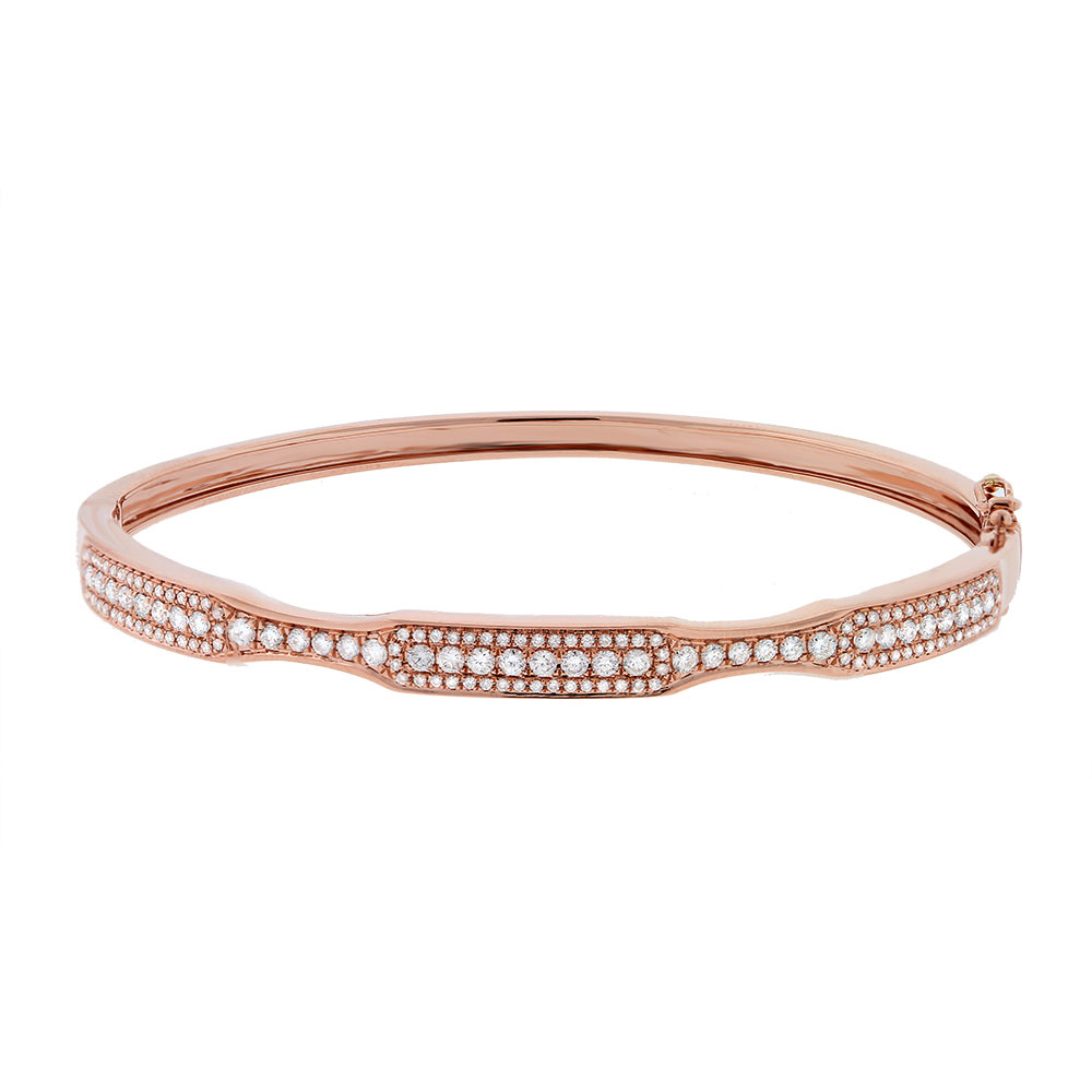 0.93ct 14k Rose Gold Diamond Bangle