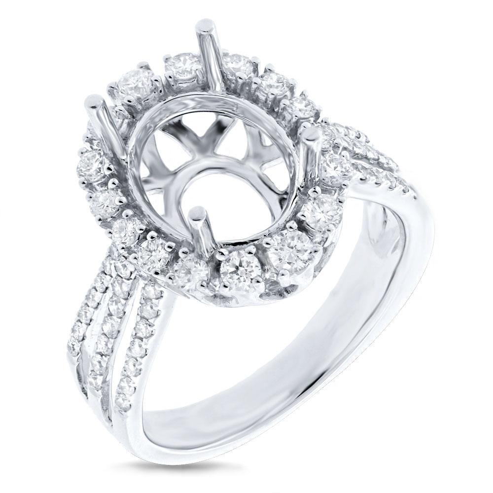 0.73ct 14k White Gold Diamond Semi-mount Ring