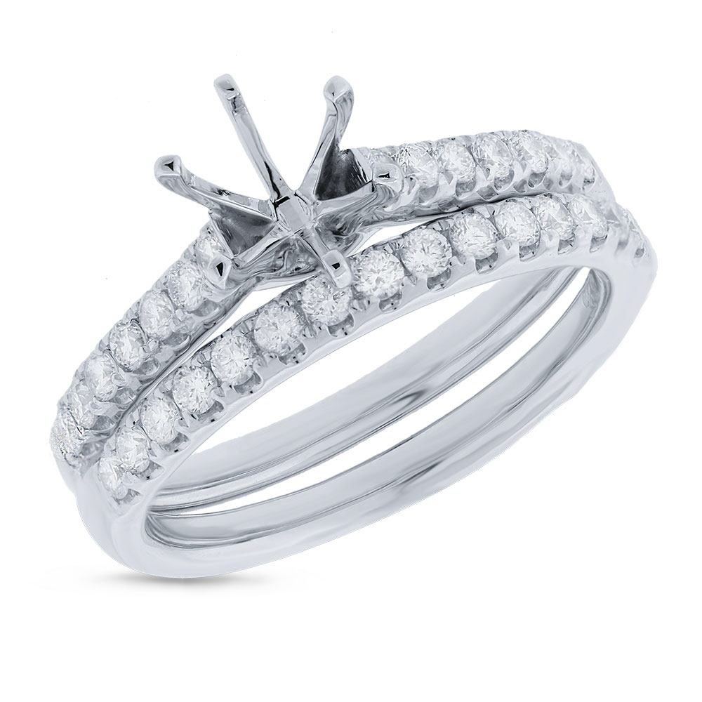 0.58ct 14k White Gold Diamond Semi-mount Ring 2-pc for 0.75ct Center