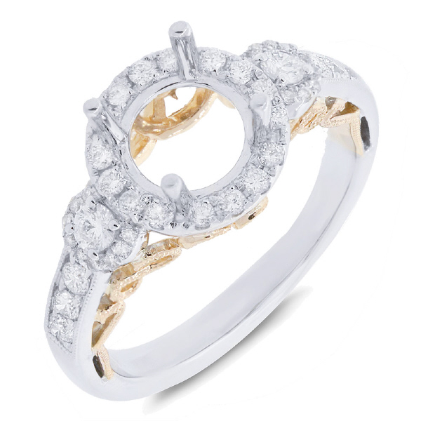0.52ct 14k Two-tone Gold Diamond Semi-mount Ring
