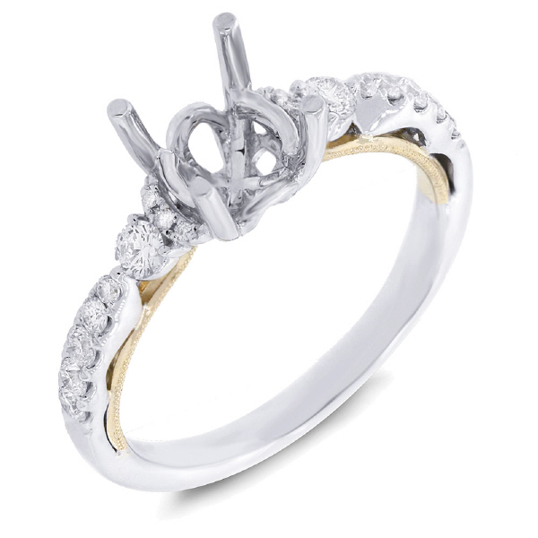 0.34ct 14k Two-tone Gold Diamond Semi-mount Ring