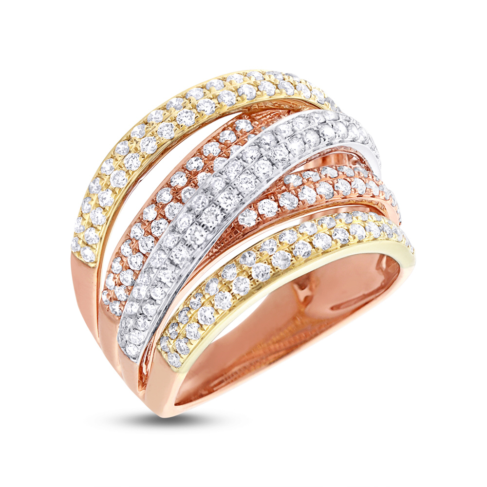 1.51ct 14k Three-tone Gold Diamond Bridge Ring