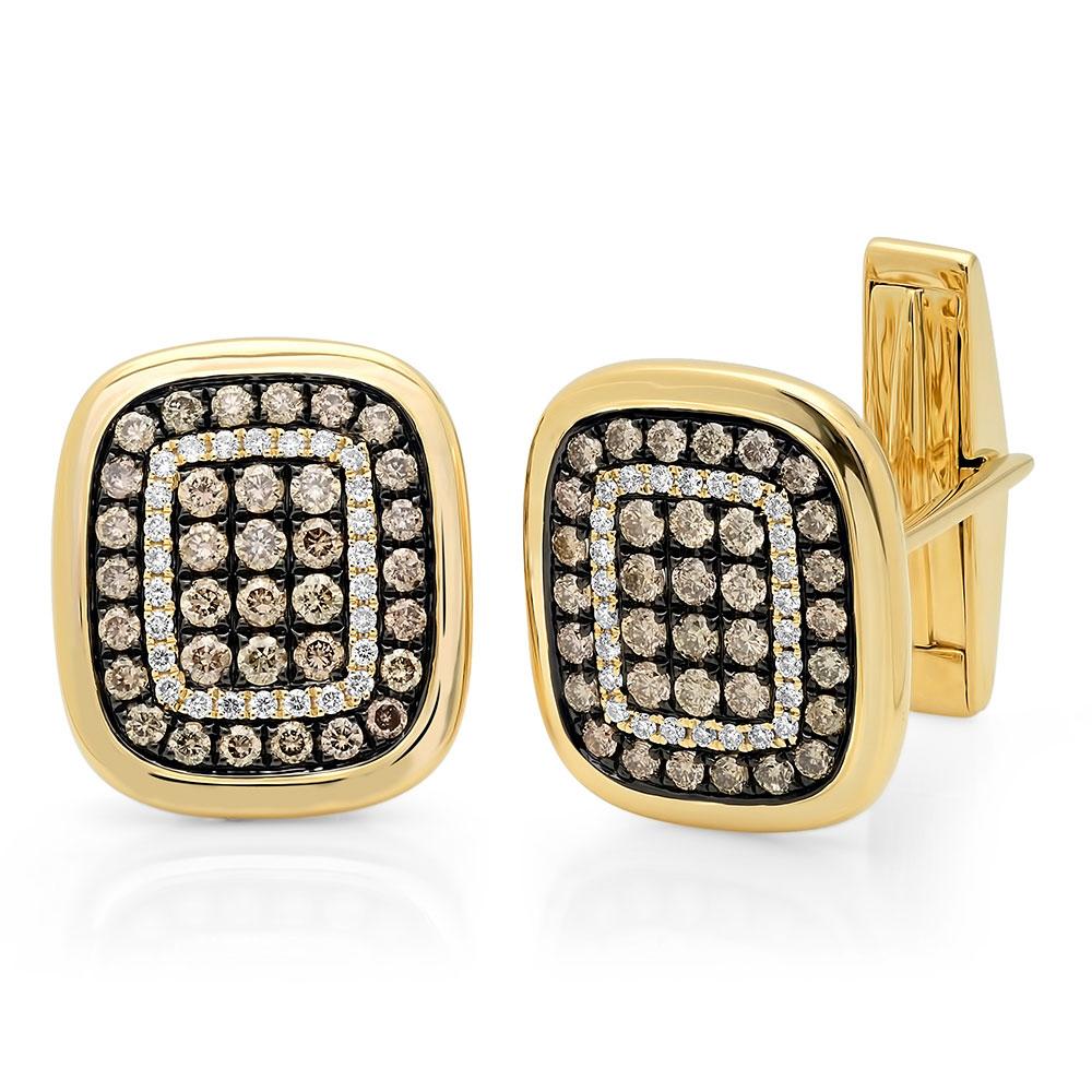 1.45ct 14k Yellow Gold White & Champagne Diamond Cuff Links