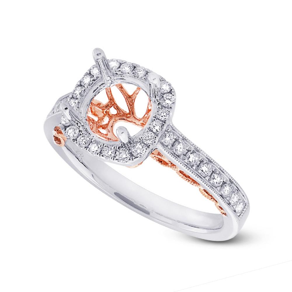 0.44ct 14k Two-tone Rose Gold Diamond Semi-mount Ring