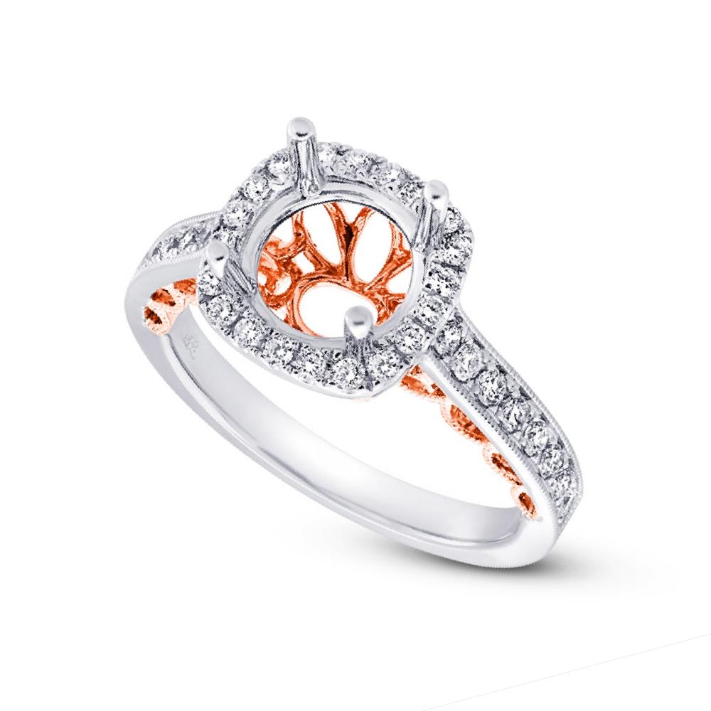 0.51ct 14k Two-tone Rose Gold Diamond Semi-mount Ring