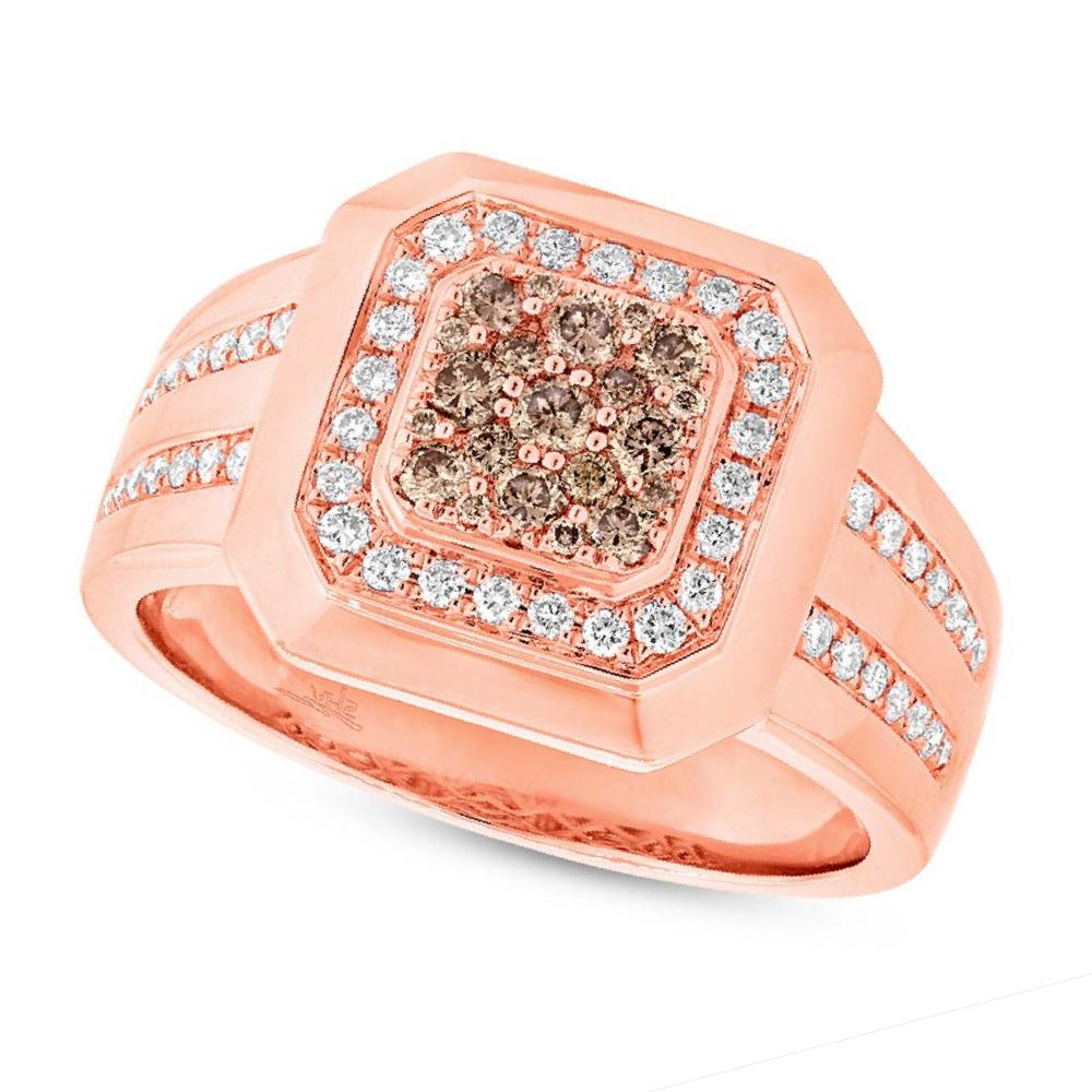 0.86ct 14k Rose Gold White & Champagne Diamond Men's Ring