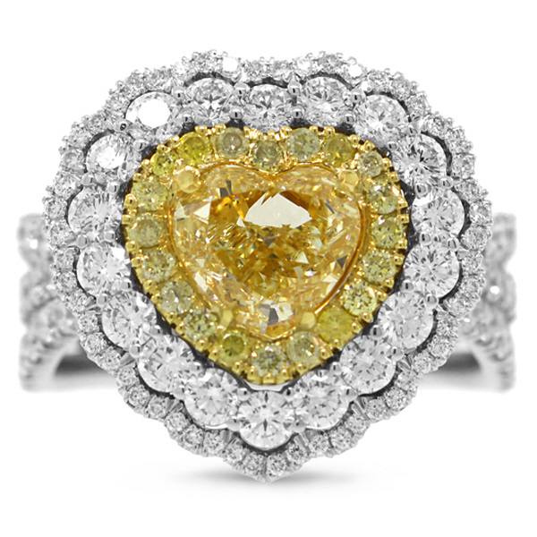 1.50ct Heart Cut Center and 2.28ct Side 18k Two-tone Gold Natural Yellow Diamond Ring