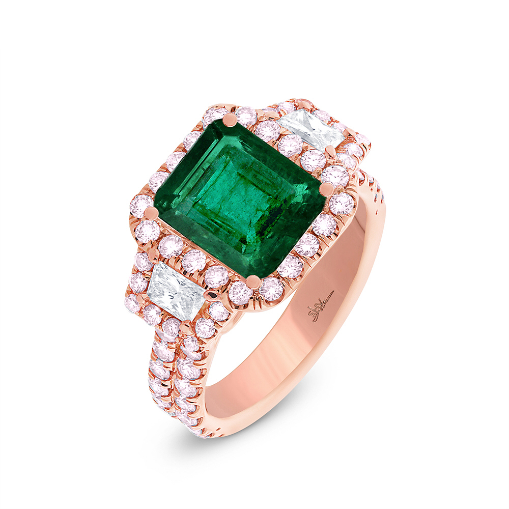 1.50ct Diamond & 2.85ct Emerald 18k Rose Gold GIA Certified Ring
