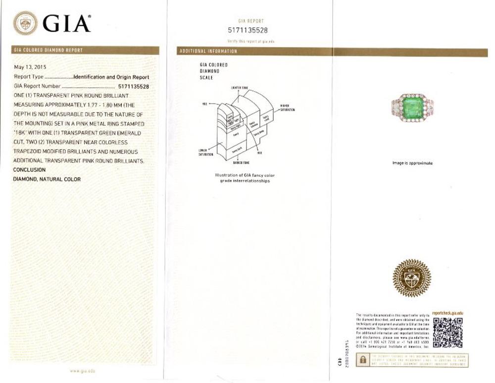 1.50ct Diamond & 2.85ct Emerald 18k Rose Gold GIA Certified Ring
