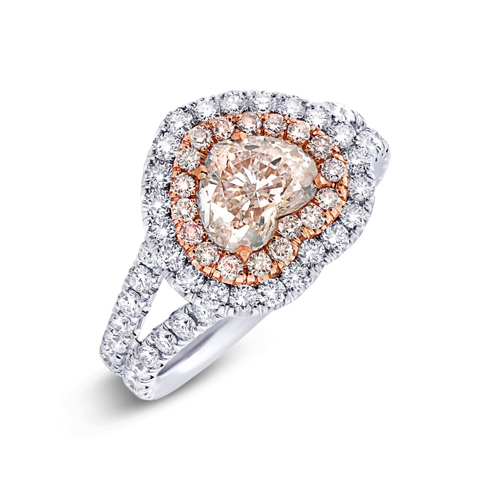 1.02ct Heart Cut Center and 1.28ct Side 18k Two-tone Rose Gold GIA Certified Natural Pink Diamond Ring