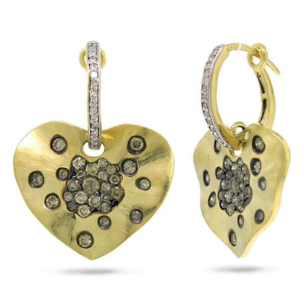 1.17ct 14k Yellow Gold White & Champagne Diamond Heart Earrings