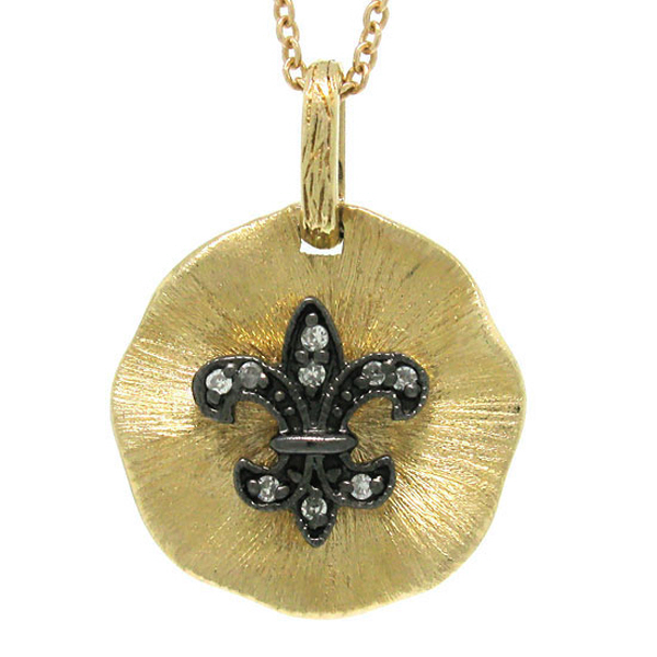 14k Yellow Gold Diamond Fleur In Circle Pendant Necklace