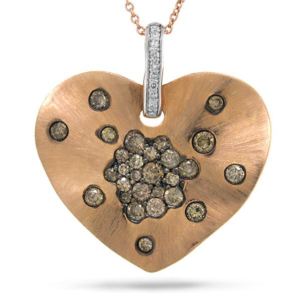 0.98ct 14k Rose Gold White & Champagne Diamond Heart Pendant Necklace