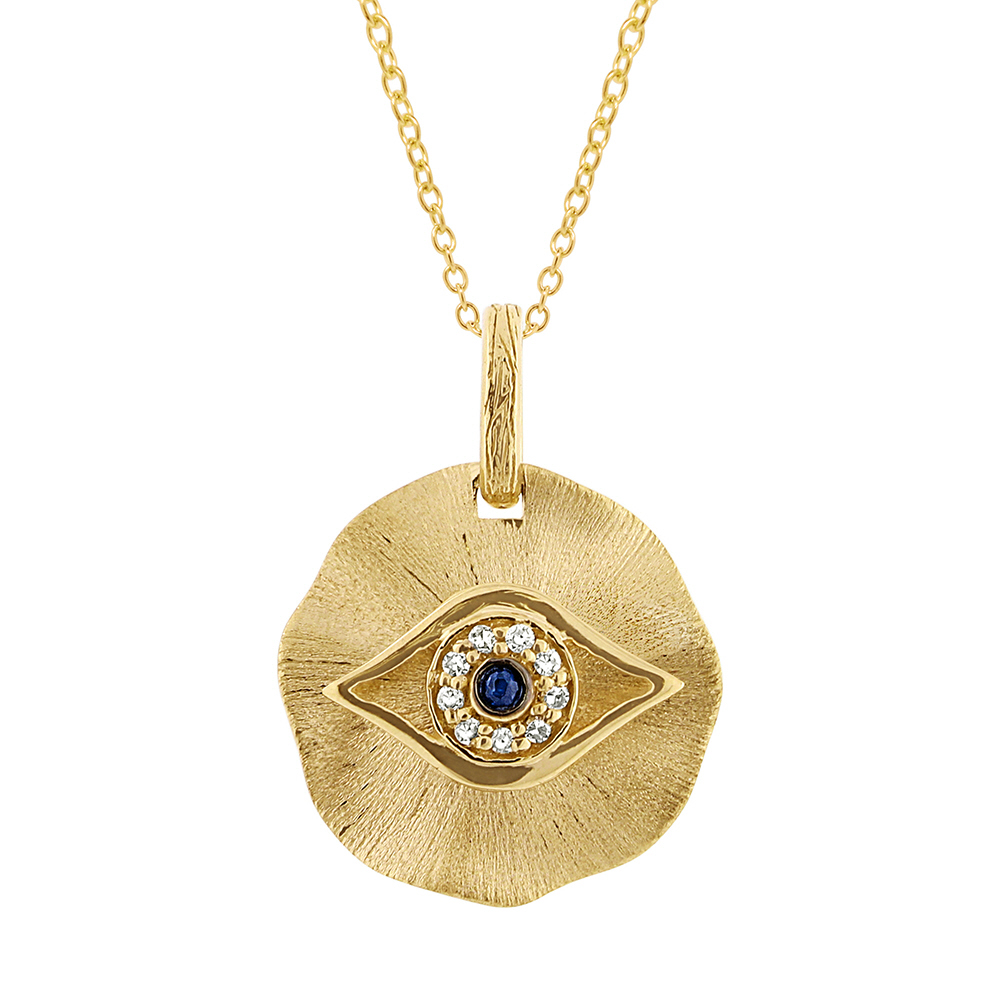 14k Yellow Gold Diamond & Blue Sapphire Eye Pendant Necklace